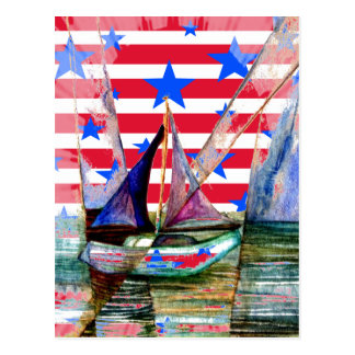 Sailboat Abstract Red White Stripes And Blue Stars Postcard