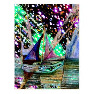 Sailboat Abstract Reflecting Surreal Light Field Postcard