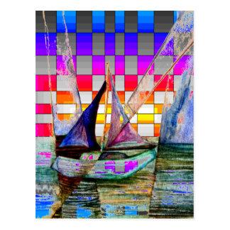 Sailboat Abstract Reflecting Surreal Rainbow Squa Postcard