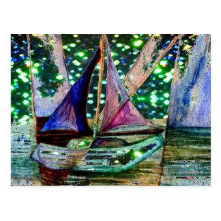Sailboat Abstract Shining Lights Background 2 Postcard