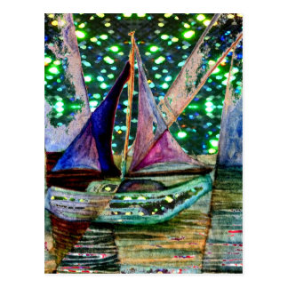 Sailboat Abstract Shining Lights Background 3 Postcard