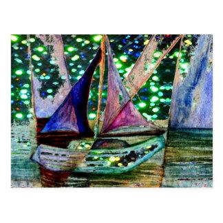 Sailboat Abstract Shining Lights Background Postcard
