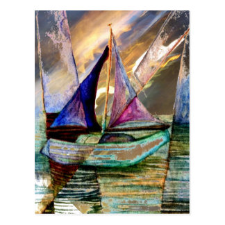Sailboat Abstract Shining Lights Lightning Sea 2 Postcard