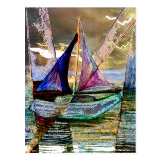 Sailboat Abstract Shining Lights Lightning Sea Postcard