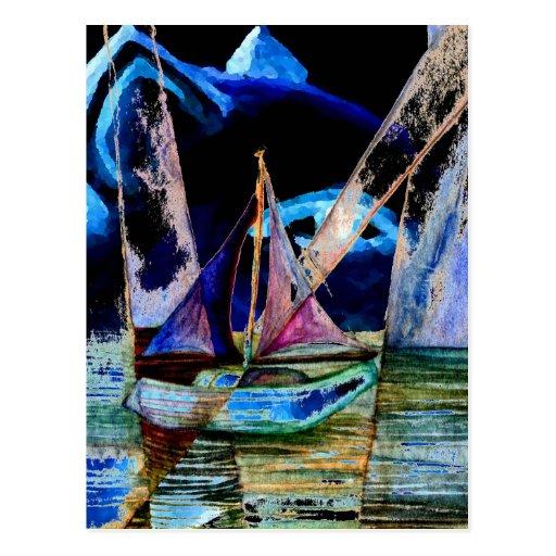 Sailboat Abstract Surreal Lion Head Night Sky Postcard