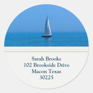Sailboat Address Labels Classic Round Sticker