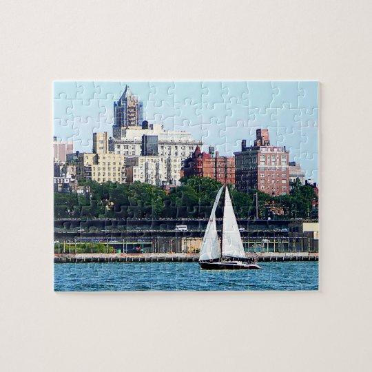 Sailboat Against Manhatten Skyline Jigsaw Puzzle