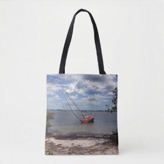 Sailboat Aground Tote Bag