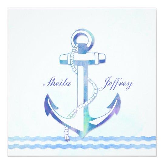Sailboat Wedding Invitations: Sailboat Anchor Fancy Nautical Wedding Invitation