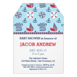 Sailboat Anchor Nautical Pattern baby shower Invitations