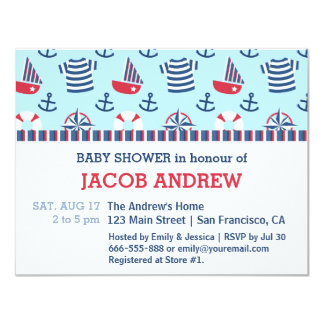 Sailboat Anchor Nautical Pattern baby shower 4.25x5.5 Paper Invitation Card