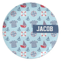 Sailboat Anchor Nautical Pattern Blue Plate