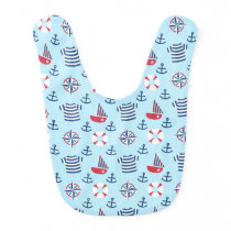Sailboat Anchor Nautical Pattern For Babies Bib