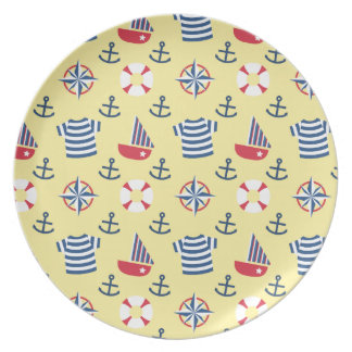 Sailboat Anchor Nautical Pattern For Toddlers Plate