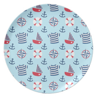 Sailboat Anchor Nautical Pattern For Toddlers Dinner Plates