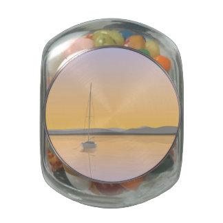 Sailboat anchored. glass jar