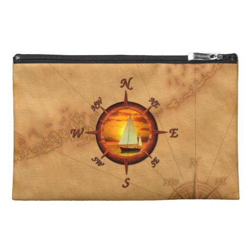 Sailboat And Compass Rose Travel Accessories Bag