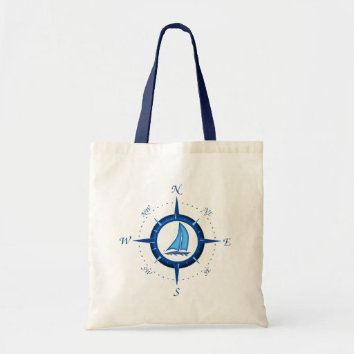 Sailboat And Compass Rose Tote Bags