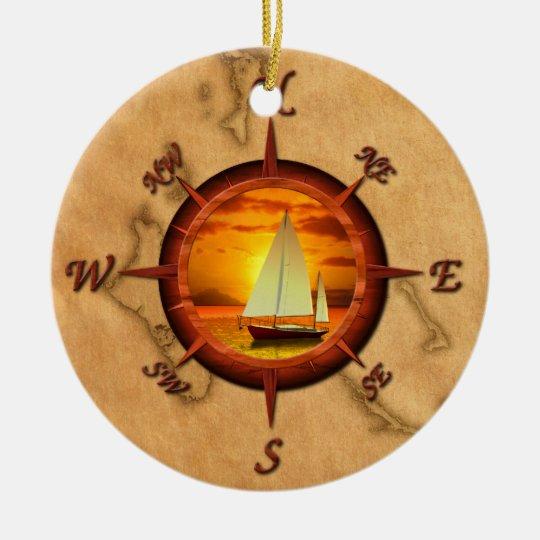Sailboat And Compass Rose Ceramic Ornament