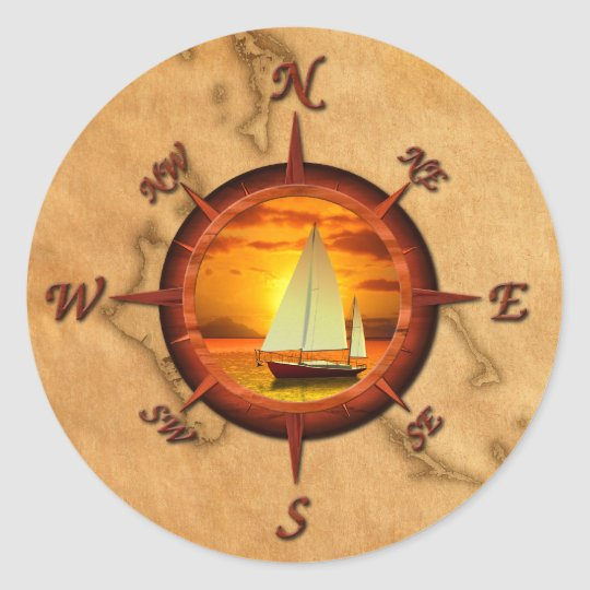Sailboat And Compass Rose Classic Round Sticker