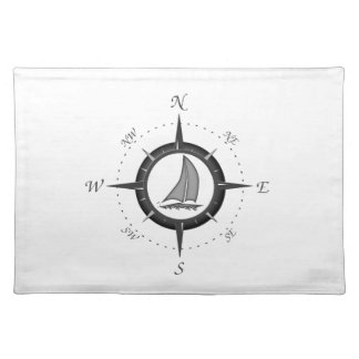 Sailboat And Compass Rose Cloth Placemat