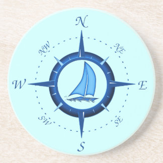 Sailboat And Compass Rose Beverage Coasters