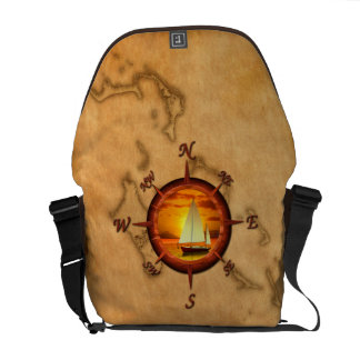 Sailboat And Compass Rose Courier Bags
