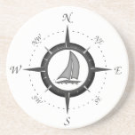 Sailboat And Compass Rose Drink Coaster