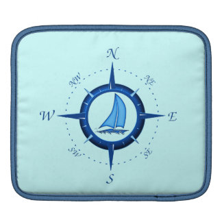 Sailboat And Compass Rose Sleeve For iPads