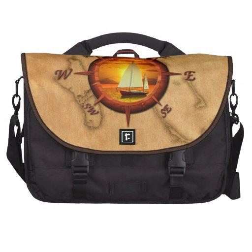 Sailboat And Compass Rose Laptop Bag