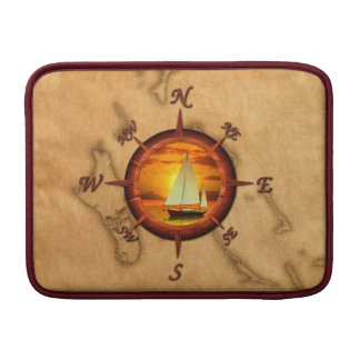 Sailboat And Compass Rose MacBook Sleeves