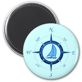 Sailboat And Compass Rose Fridge Magnet