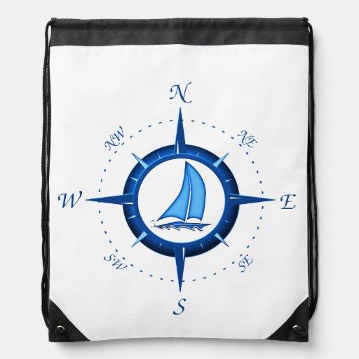 Sailboat And Compass Rose Drawstring Bag