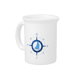 Sailboat And Compass Rose Pitcher
