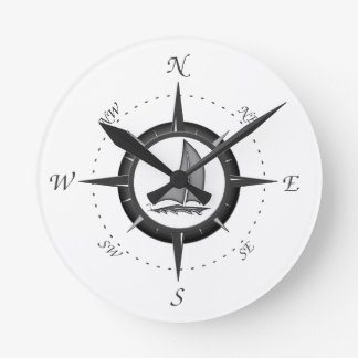 Sailboat And Compass Rose Round Clock
