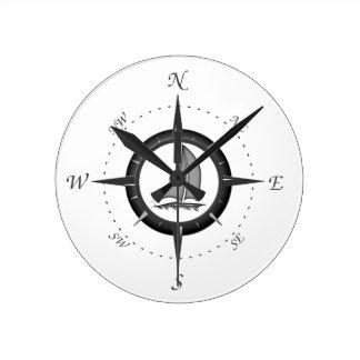 Sailboat And Compass Rose Round Clock