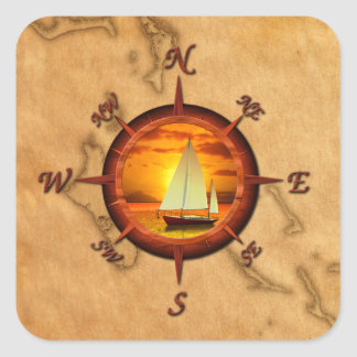 Sailboat And Compass Rose Square Sticker
