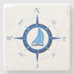 Sailboat And Compass Rose Stone Coaster