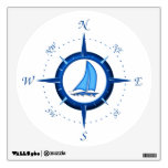 Sailboat And Compass Rose Wall Decal