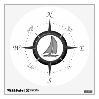 Sailboat And Compass Rose Wall Sticker