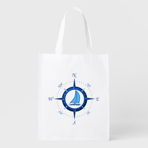 Sailboat And Compass Rose Grocery Bags
