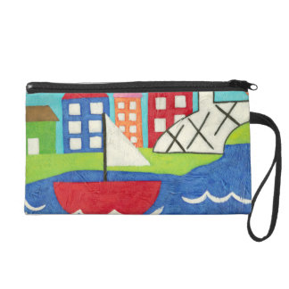 Sailboat and Hot Air Balloon with Cityscape Wristlet