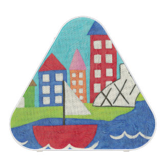 Sailboat and Hot Air Balloon with Cityscape Bluetooth Speaker