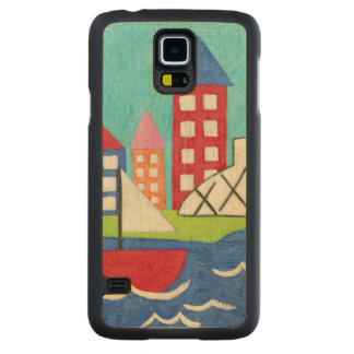 Sailboat and Hot Air Balloon with Cityscape Carved Maple Galaxy S5 Case