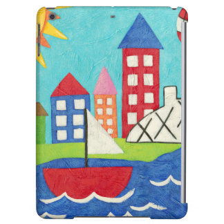 Sailboat and Hot Air Balloon with Cityscape iPad Air Cover