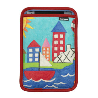 Sailboat and Hot Air Balloon with Cityscape iPad Mini Sleeves