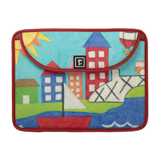 Sailboat and Hot Air Balloon with Cityscape MacBook Pro Sleeve