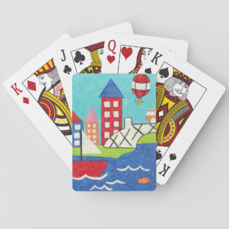 Sailboat and Hot Air Balloon with Cityscape Playing Cards