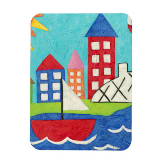Sailboat and Hot Air Balloon with Cityscape Rectangular Photo Magnet