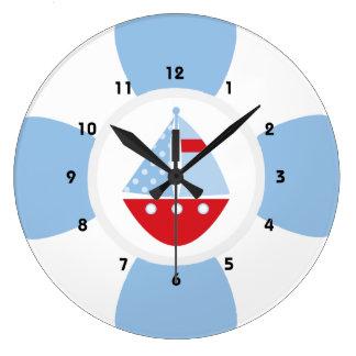 Sailboat and Life Ring Large Clock